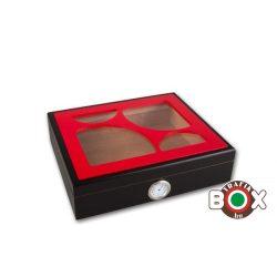 Humidor 30 szál szivar részére- fekete, piros tetővel