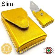 Bőr Valódi Cigaretta tartó Slim (Kézzel készített) Arany 024