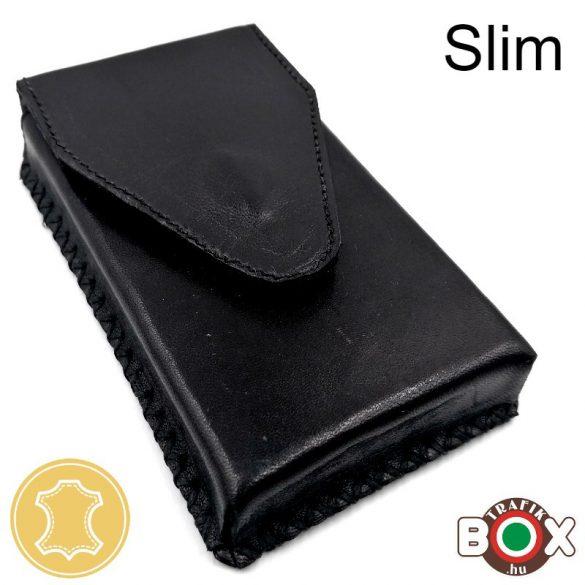Bőr Valódi Cigaretta tartó Slim (Kézzel készített) fekete 028