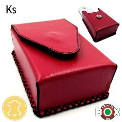 Bőr Valódi Cigaretta tartó 80' (Kézzel készített) piros 055