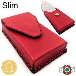Bőr Valódi Cigaretta tartó Slim (Kézzel készített) piros 056