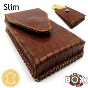 Bőr Valódi Cigaretta tartó Slim (Kézzel készített) barna hajszál csíkos 076