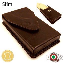 Bőr Valódi Cigaretta tartó Slim (Kézzel készített) barna 084