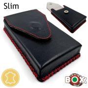 Bőr Valódi Cigaretta tartó Slim (Kézzel készített) fekete-piros varrás 085