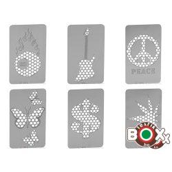 Dohányőrlő-Kártya Fém Vegyes Mintával 8,5×5 cm 11263