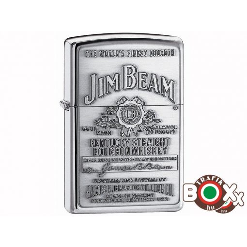 250JB928 Zippo öngyújtó, fényes ezüst színben - Jim Beam védjeggyel