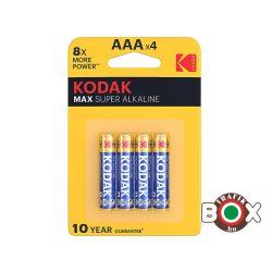 KODAK Max Alkáli Mikro Elem AAA(1,5V) B4 4 db/bliszter