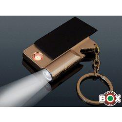 ÖNGYÚJTÓ USB-röl tölthető, Sörbontós, Kulcstartóval, Lámpával, Fekete-Rozgold 46532