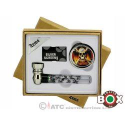 Fémpipa szett Díszdobozban (Üvegpipa 9cm+fémörlő+filter) 48171