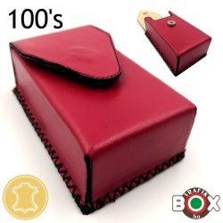 Bőr Valódi Cigaretta tartó 100's (Kézzel készített) piros 61