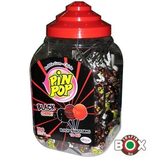 PIN POP fekete cseresznye ízű nyalóka rágóval 100 db × 17g