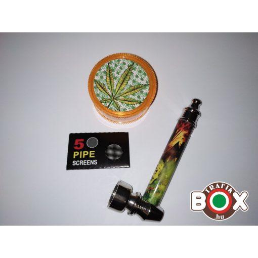 Fém pipa szett (Pipa+filter+őrlő) 69137