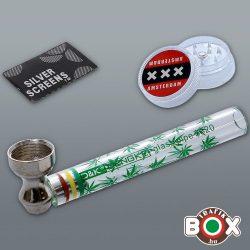 Üvegpipa + Műanyagőrlő D&K Dengke 10 cm 70240