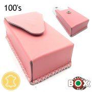 Bőr Valódi Cigaretta tartó 100's (Kézzel készített) rózsaszín 72