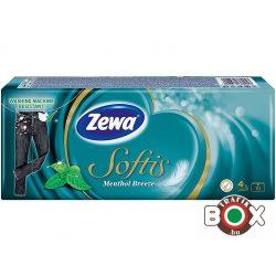 Zewa Papírzsebkendő 10×9 db 4 rétegű Softis Menthol (ellenáll a mosásnak)