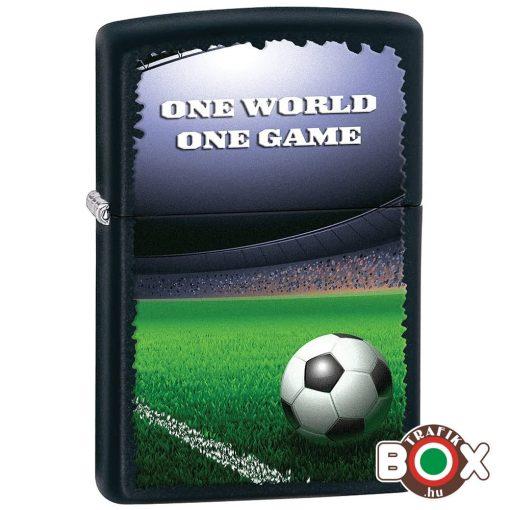 84729 ZIPPO öngyújtó fekete Football, Egy világ, Egy játék