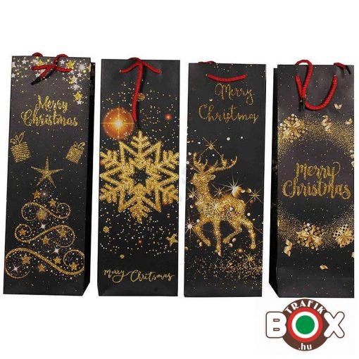 Dísztasak italos Merry Christmas, Arany Csillám HKS-4605